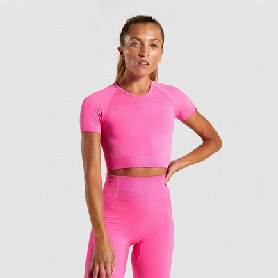 Two Piece Suit Womens Solid Color Fitness Yoga Suit Short Sleeve T-shirt Shorts_23