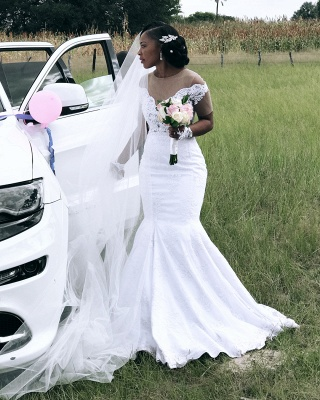 Afric Style Short Sleeves Wedding Dress Fit And Flare Mermaid Applique Bridal Gowns_4