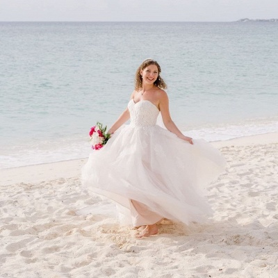 Gorgeous Sweetheart Lace Wedding Dress Long Tulle Bridal Gowns Online_3