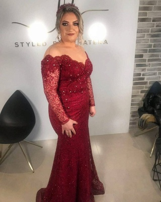 Off The Shoulder Ruby Lace Beading Mermaid Prom Dresses_2