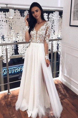 Jewel Long Sleeve Sheer Bodice Applique Wedding Dress A Line Lace Pleated Tulle Bridal Gowns
