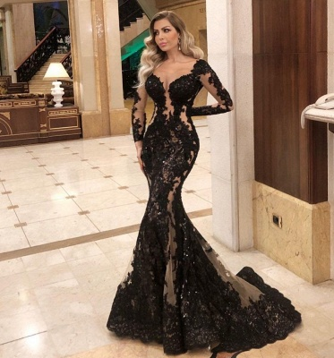 Sexy Black Lace Prom Dress Mermaid Long Sleeve Evening Gowns_2