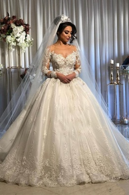 Elegant Long Sleeve Lace Wedding Dress Off-the-Shoulder Ball Gown Bridal Dresses_1