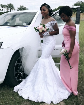 Afric Style Short Sleeves Wedding Dress Fit And Flare Mermaid Applique Bridal Gowns_3