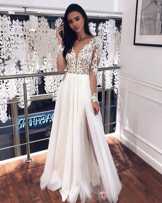 Jewel Long Sleeve Sheer Bodice Applique Wedding Dress A Line Lace Pleated Tulle Bridal Gowns_2