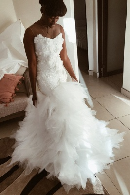 Chic Mermaid Tulle Ruffles Wedding Dress Sleeveless Flowers Bridal Gowns On Sale