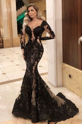 Sexy Black Lace Prom Dress Mermaid Long Sleeve Evening Gowns