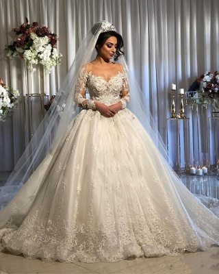 Elegant Long Sleeve Lace Wedding Dress Off-the-Shoulder Ball Gown Bridal Dresses_2
