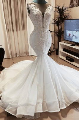 Sexy Deep V Neck Applique Wedding Dress Beaded Fit And Flare Mermaid Bridal Gowns