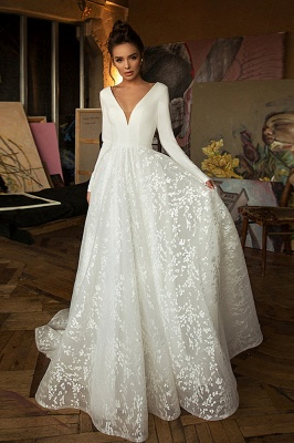 Elegant V-neck White Lace Wedding Dress Boho Long Sleeve Appliques Bridal Gowns
