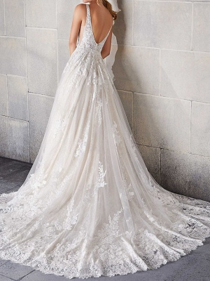 A-Line Wedding Dresses Spaghetti Strap Lace Tulle Sleeveless Bridal Gowns Country Plus Size Sweep Train_2