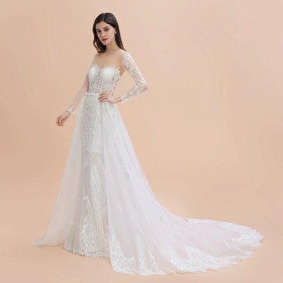 Gorgeous Jewel Tulle Lace Wedding Dress   Long Sleeves Appliques Mermaid Bridal Gowns_11