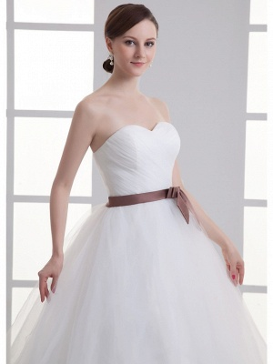 Sexy A-Line Wedding Dress Sweetheart Lace Satin Tulle Strapless Bridal Gowns with Court Train_5