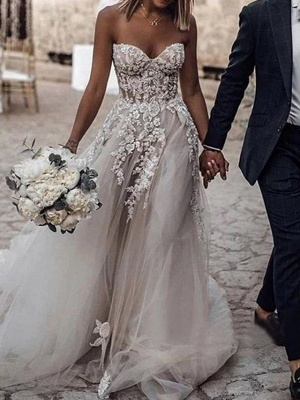 Romantic A-Line Sweetheart Tulle Wedding Dress Boho Beach Lace Bridal Gowns Online