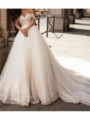 Country Plus Size Ball Gown Off Shoulder Wedding Dress Tulle Short Sleeve Bridal Gowns with Chapel Train_2