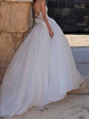 Country Plus Size A-Line Wedding Dress Sweetheart Sleeveless Bridal Gowns with Sweep Train_3