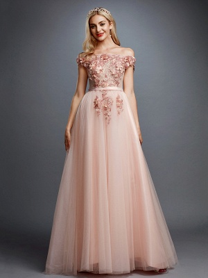 Glamorous Sleeveless Appliques Tulle A-Line Prom Dresses_3