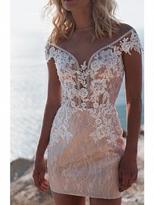 A-Line Wedding Dress Jewel Lace Tulle Cap Sleeve Bridal Gowns Sweep Train_2