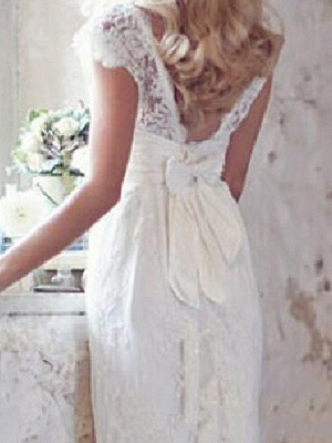 Country Mermaid Wedding Dress V-Neck Lace Short Sleeve Plus Size Bridal Gowns Court Train_2