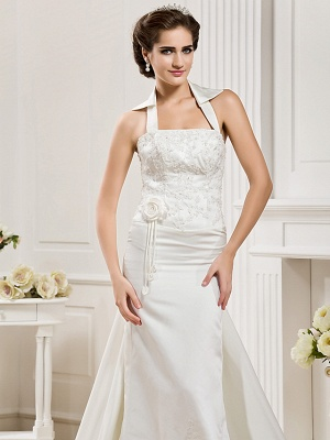 Affordable Mermaid Halter Wedding Dress Satin Sleeveless Bridal Gowns with Court Train_5