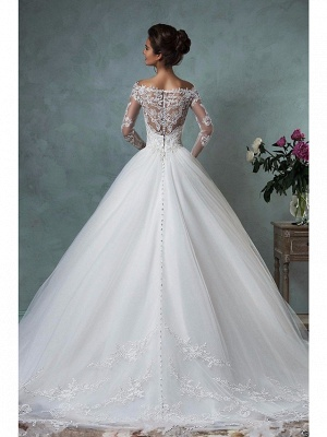 A-Line Wedding Dresses Off Shoulder Lace Tulle Long Sleeve Bridal Gowns Formal See-Through Court Train_2