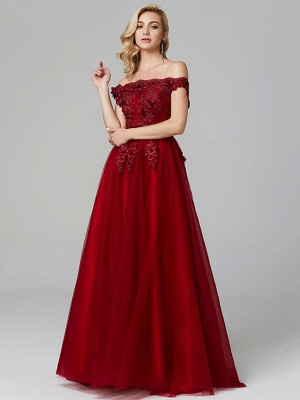 Glamorous Sleeveless Appliques Tulle A-Line Prom Dresses_12