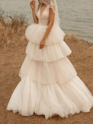 A-Line Wedding Dresses Jewel Tulle Polyester Sleeveless Bridal Gowns Country Plus Size Sweep Train_2