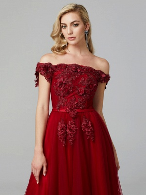 Glamorous Sleeveless Appliques Tulle A-Line Prom Dresses_14