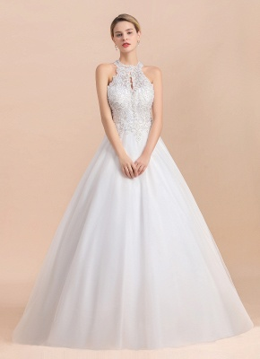 Exquisite High-Neck Lace Wedding Dress | Appliques Sequins Sleeveless Bridal Gowns_6
