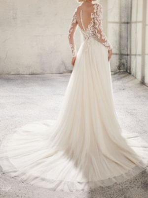 Country A-Line Wedding Dress Jewel Lace Tulle Long Sleeve Plus Size Bridal Gowns Sweep Train_2
