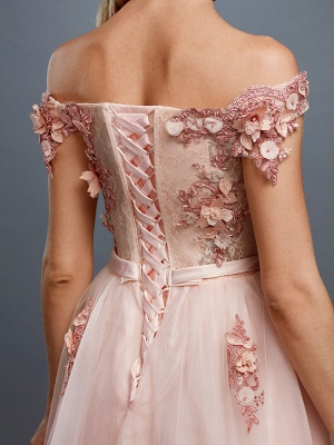Glamorous Sleeveless Appliques Tulle A-Line Prom Dresses_7