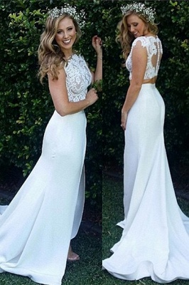 Two Piece Lace Wedding Dress 2020 Front Split Buttons Summer Outdoor Wedding Gowns_2