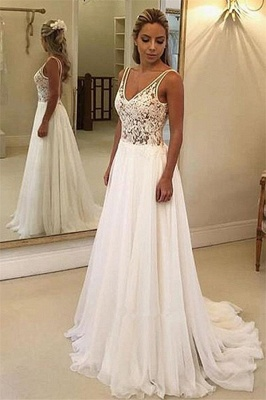 Charming V-Neck Sleeveless Wedding Dress Appliques A-Line Floor-Length Bridal Gowns