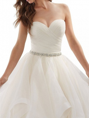 Plus Size A-Line Wedding Dresses Sweetheart Organza Strapless Bridal Gowns with Chapel Train_3