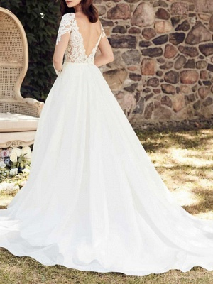 A-Line Wedding Dress V-Neck Lace Tulle Long Sleeve Bridal Gowns Court Train_3