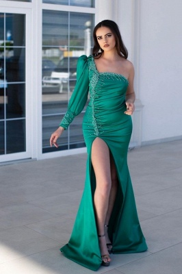 Chic One Shoulder Long Sleeve Prom Dress Mermaid Evening Gowns With Slit