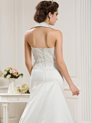 Affordable Mermaid Halter Wedding Dress Satin Sleeveless Bridal Gowns with Court Train_6