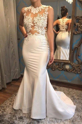 Mermaid Scoop Sleeveless Wedding Dress Satin Applique Court Train Bridal Gowns