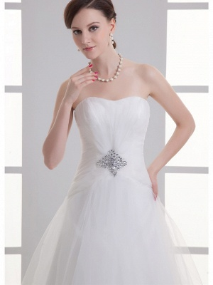 Boho A-Line Wedding Dress Sweetheart Lace Satin Strapless Bridal Gowns with Chapel Train_5