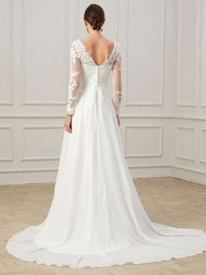 Formal Sheath Wedding Dress V-Neck Lace Tulle Long Sleeves Plus Size Bridal Gowns with Sweep Train_6
