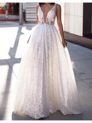 Sexy A-Line Wedding Dresses Scoop Lace Tulle Sleeveless Bridal Gowns Beach See-Through Sweep Train