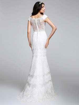 Romantic Mermaid Wedding Dress V-neck All Over Lace Cap Sleeve Sexy Backless Bridal Gowns Illusion Detail