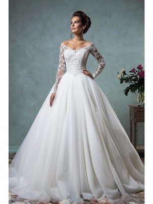 A-Line Wedding Dresses Off Shoulder Lace Tulle Long Sleeve Bridal Gowns Formal See-Through Court Train_1