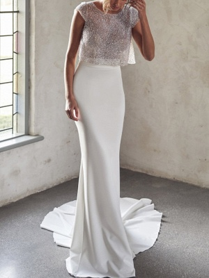 Sexy See-Through Two Piece Mermaid Wedding Dress Tulle Sequined Chiffon Cap Sleeve Bridal Gowns