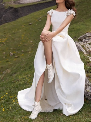 Country A-Line Wedding Dress Jewel Satin Cap Sleeve Plus Size Bridal Gowns Sweep Train_2