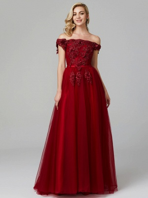 Glamorous Sleeveless Appliques Tulle A-Line Prom Dresses_9