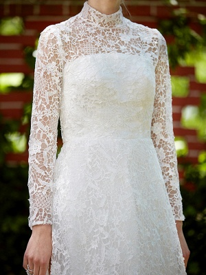 Illusion A-Line Wedding Dress Floral Lace Long Sleeve Bridal Gowns Court Train_11