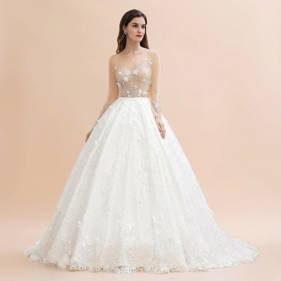 Luxury Ball Gown Tulle Lace Wedding Dress | Long Sleeves Appliques Pearls Bridal Gowns with Flowers_4