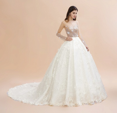 Luxury Ball Gown Tulle Lace Wedding Dress | Long Sleeves Appliques Pearls Bridal Gowns with Flowers_11