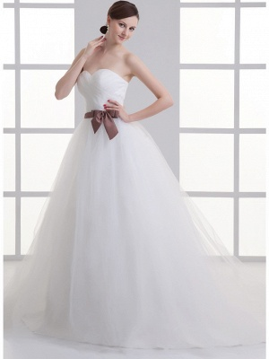 Sexy A-Line Wedding Dress Sweetheart Lace Satin Tulle Strapless Bridal Gowns with Court Train_3